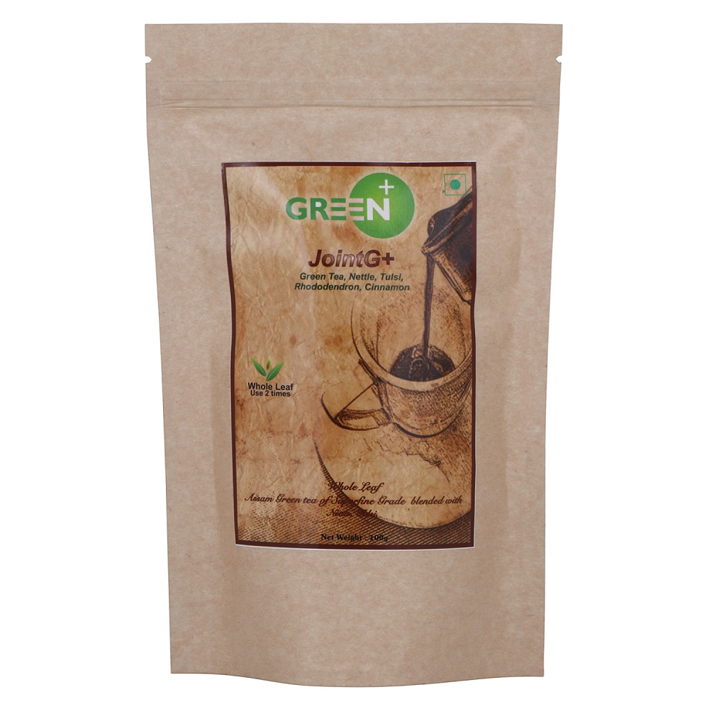 Green+ JointG+ Herbal Assam Green Tea with Nettle, Rhododendron, Tulsi and Cinnamon for Joint Pain relief - 100g Pack